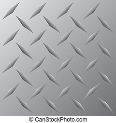 A silver metallic diamond plate texture that tiles seamlessly in any direction. This vector image is easily customized to any other style.