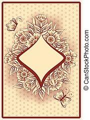 Diamond poker vintage playing card,