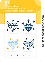 Diamond premium icon set with multiple style isolated on white background. Jewelry vector icon design template for web design, apps, logo, finance, business and all project. Include 64x64 pixel perfect