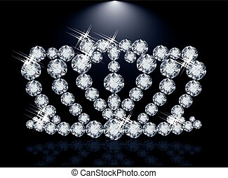 Diamond princess crown, vector