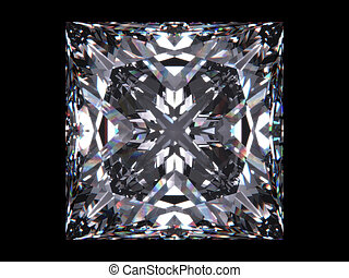 Diamond princess cut - Diamond series; isolated 3d jewellery...