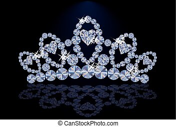 Diamond princess diadem with hearts