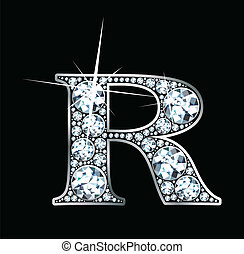 """A stunningly beautiful """"R"""" set in diamonds and silver."""