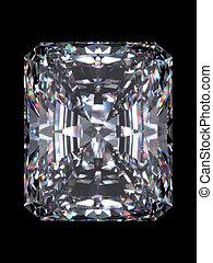 Diamond radiant cut - Diamond series; isolated 3d jewellery...