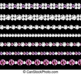 Diamond Realistic Borders Set Vector Illustration