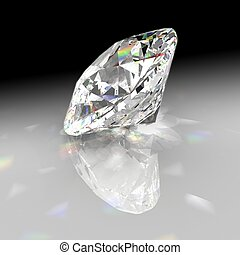 Diamond refracting light with gradient background