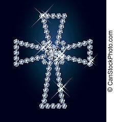 Diamond religious cross, vector