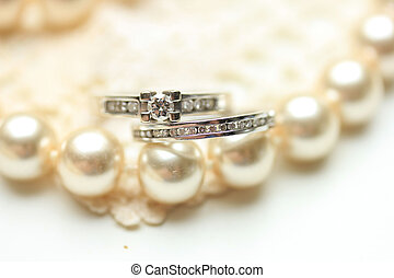 Diamond ring and pearls