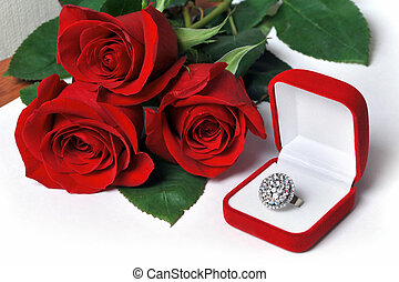 Diamond ring and roses