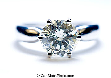 Close-up of a two carat diamond solitaire ring with a white background