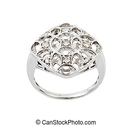 Diamond ring - Close -up of diamond ring having many...