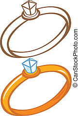 Diamond ring. Color and contour illustration