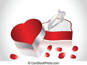 Diamond ring petals of roses and gift box