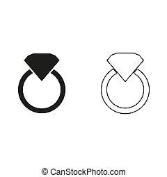 Diamond ring - green vector icon