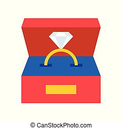 diamond ring in box, jewelry related icon, flat design