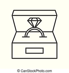 diamond ring in box, jewelry related, outline icon