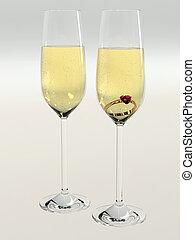 Diamond ring in champagne glasses
