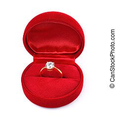 Diamond ring in red box isolated on white background