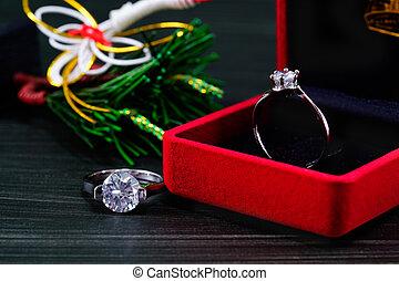 Diamond ring in red jewel box