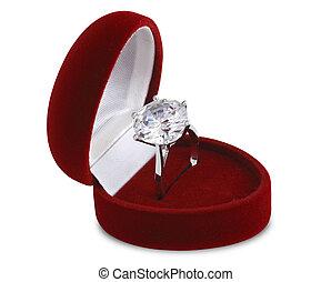 diamond ring in red velvet box