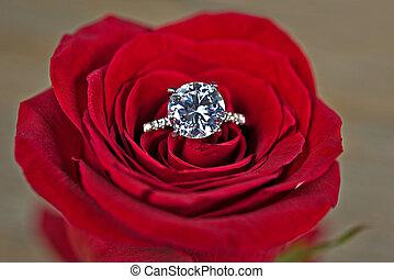 diamond ring in rose