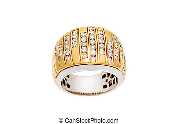 Diamond ring isolated on white background. Ring with diamonds. Yellow gold.