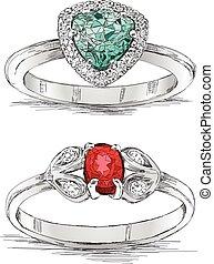 Diamond Ring Jewelry Sketch Vector Illustration