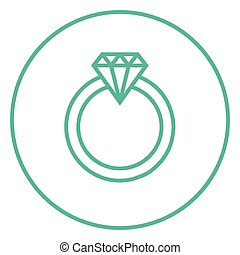 Diamond ring line icon. - Diamond ring thick line icon with...