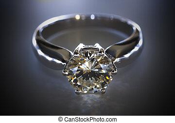 Diamond ring on a dark background