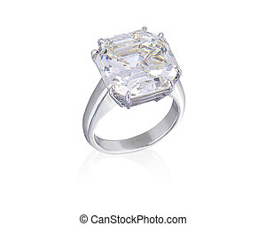 Diamond ring on white background with clipping path.