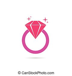 diamond ring pink vector