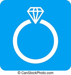 Diamond Ring Rounded Square Vector Icon