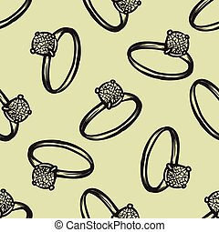Diamond ring seamless pattern vector hand drawn illustration