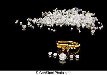 An un-mounted gold ring with diamonds ready for setting, with loose diamonds in the background