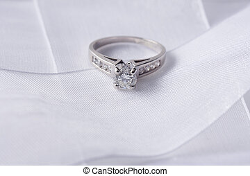 Diamond Ring - Single sparkling diamond ring with white...