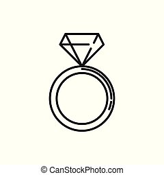 Diamond Ring Thin Line Icon Illustration Design