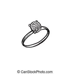 Diamond ring vector hand drawn illustration black lines ...