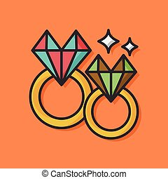 diamond ring vector icon