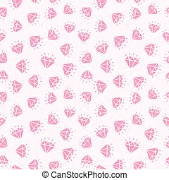 Diamond seamless pattern pink color on white background for use your design work. Decoration element. Vector Illustration