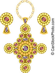 diamond-shaped pendant  with earrings made from gold