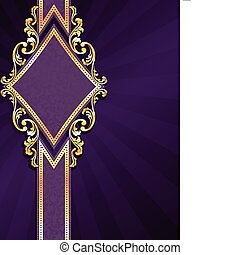diamond shaped purple & gold banner - stylish vertical ...