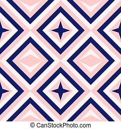 Abstract geometry in navy blue and blush pink - Diamond...