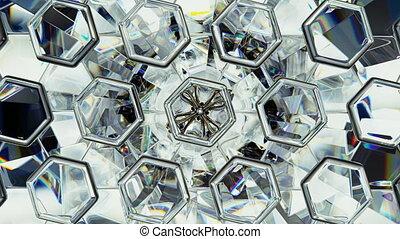 Diamond shine macro rotate and hexagon pattern seamless...