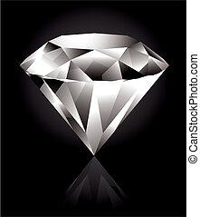 Diamond - Shiny and bright diamond on a black background