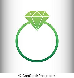 Diamond sign. Green gradient icon