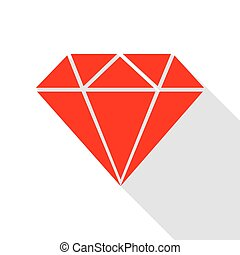 Diamond sign illustration. Red icon with flat style shadow path.
