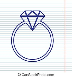 Diamond sign illustration. Vector. Navy line icon on notebook paper as background with red line for field.