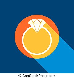 Diamond sign illustration. Vector. White icon on tangelo circle with infinite shadow of light at cool black background. Selective yellow and bright navy blue are produced.