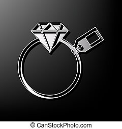 Diamond sign with tag. Vector. Gray 3d printed icon on black background.