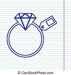 Diamond sign with tag. Vector. Navy line icon on notebook paper as background with red line for field.